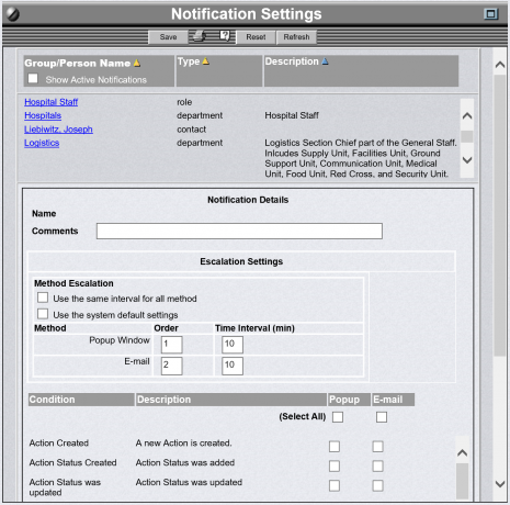 OpsCenter screen that allows an Administrator to set all Notifications