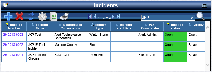 OpsCenter Incident Status Board with Search